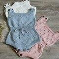 2017 Atacado primavera quente ins moda bebê macacão de malha de algodão branco rosa luz azul (escolha tamanho e cor)