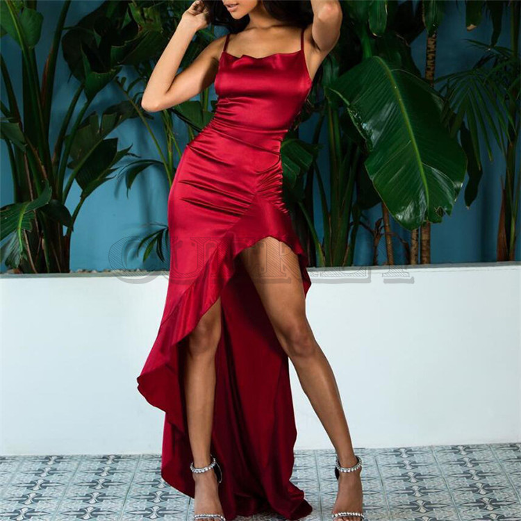 Ameision irrégulière volants Sexy longue Maxi robe de noël femmes rouge Satin dos nu moulante robe élégante fendue robe de soirée 2019
