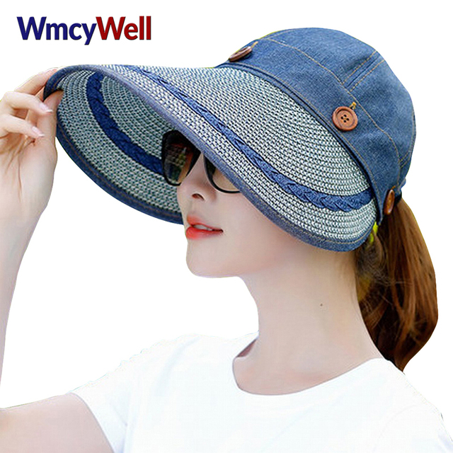 WmcyWell Women s Reversible 2-in-1 Wide Brim Floppy Hat UV Protection Sun-Shading  Hats For Beach Glof Straw Hat Visor Hat cef4515fb68