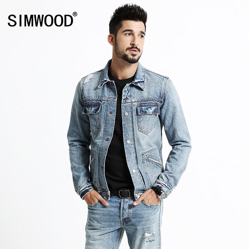 SIMWOOD 2020 Spring Winter Cotton  Redline Denim Jackets Men Fashion Pockets Hole Fashion Ripped Slim Fit  Jeans  Coats NK017013
