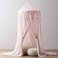 Kid Baby Bed Canopy Bedcover Mosquito Net Curtain Bedding Round Dome Tent Cotton for Baby Room Decoration 240cm x 50cm Pink 2019