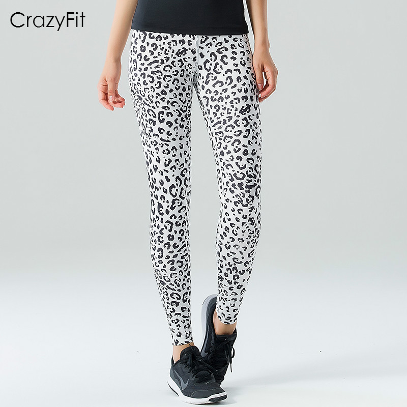 CrazyFit Women Professional Yoga Pants Leopard Running
