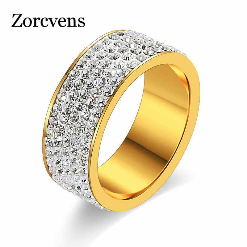 ZORCVENS Gold & Silver สีสแตนเลสงานแต่งงานเครื่องประดับ 5 แถว CZ หินแฟชั่นแหวนหมั้นผู้หญิง