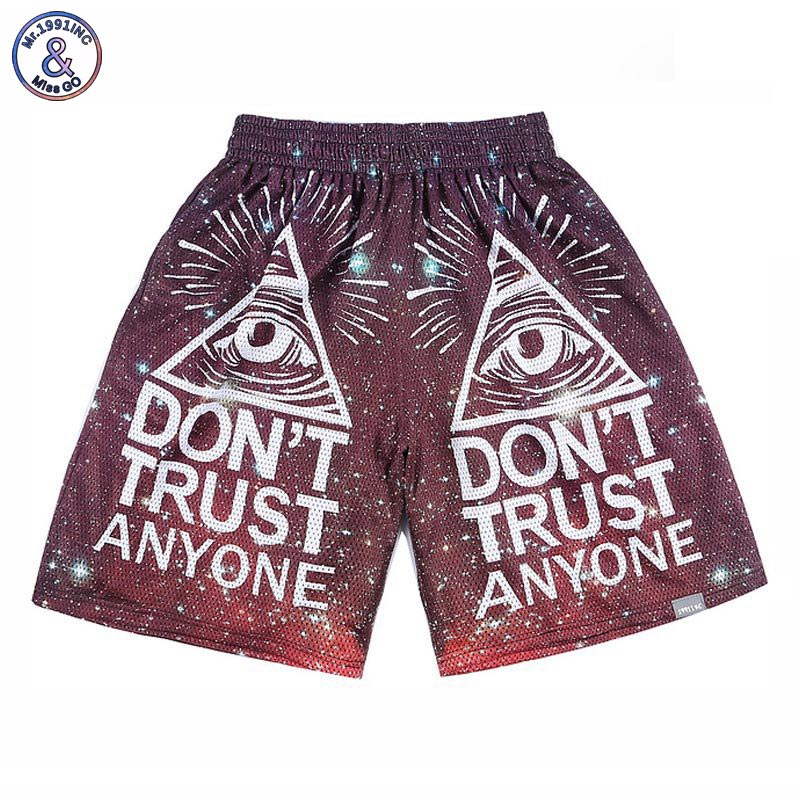 2017 Mr.1991INC Mens cartoon sprot shorts joggers 3d print Triangle eyes Dont Trust Anyone 3d shorts short pant S28