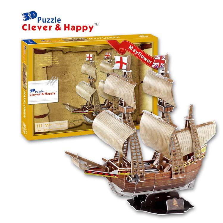 2014 nový chytrý a šťastný pozemek 3d puzzle model Mayflower dospělý puzzle diy papír model vzdělávací hračky papírování a vzdělávání