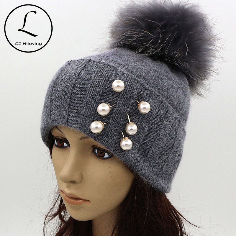 GZHILOVINGL Pearl Earring Hats For Women Real Ball Gray Knitted Hats With Pearls Decoration Warm Thick Striped Caps Gorros 61123 douglas gray real estate investing for canadians for dummies