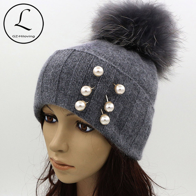 GZHILOVINGL Pearl Earring Hats For Women Real Ball Gray Knitted Hats With Pearls Decoration Warm Thick Striped Caps Gorros 61123