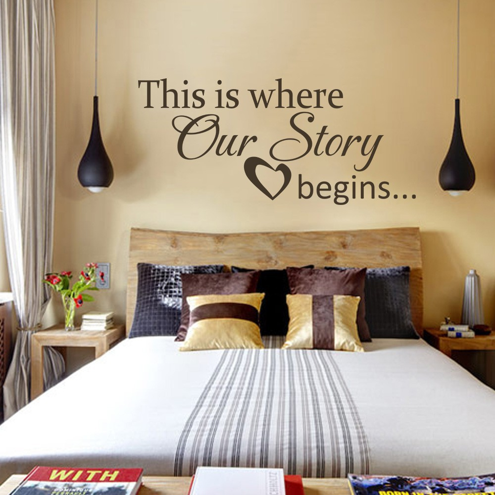 Love wall quote this is where our story begins heart decal couple love wall quote this is where our story begins heart decal couple bedroom love vinyl wall quote wedding decor 34 x 16 s in hair clips pins from beauty amipublicfo Image collections
