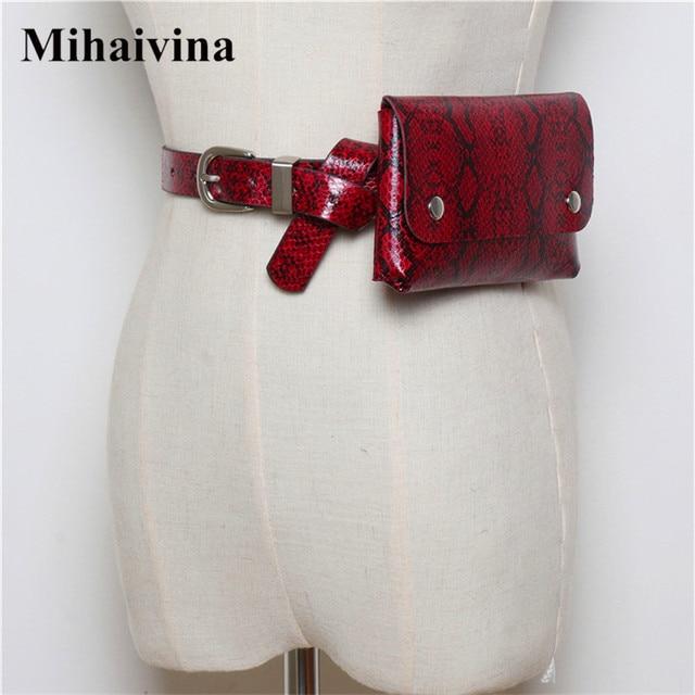 Mihaivina Wholesale Classic Serpentine Waist Bag Women Fashion PU Leather Fanny Pack Female Vintage Belt Bag Phone Bum Sexy Bags