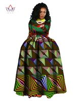 2016 Spring New African Dresses For Women Bazin RichTraditioncal Print Long Dress Long Sleeve Cotton Classic