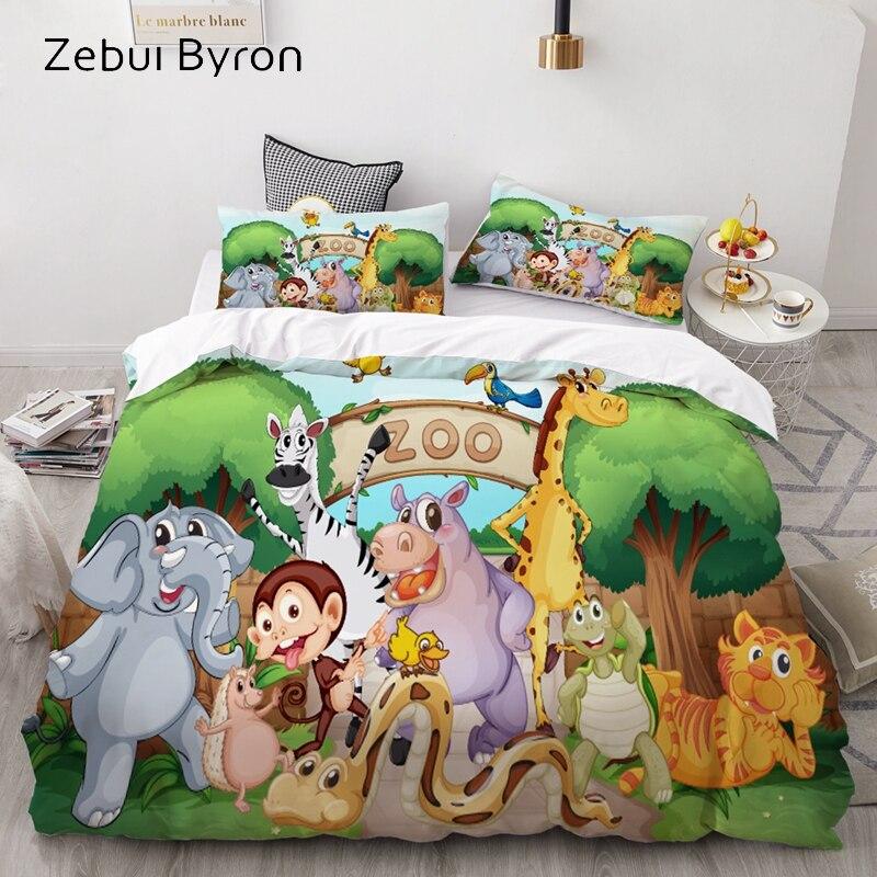 3D Cartoon Bedding Set For Kids/Baby/Children/Boy/Girl,Animal Zoo Duvet Cover Set Custom/Europe/USA,Quilt/Blanket Cover Set