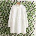 Frete grátis casual Mulheres Coreanas longa seção de algodão branco bordado gola longo-sleeved blusa solta plus size