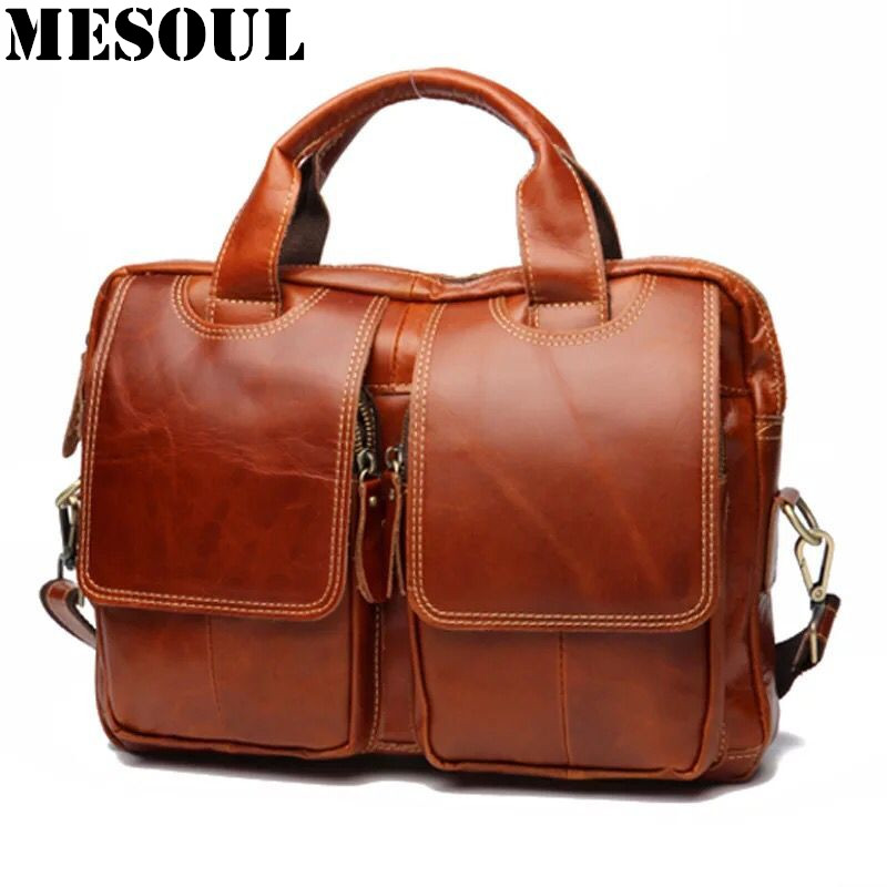 Vintage Genuine Leather Document Briefcase Casual Men Business Bags Mens Handbags Crossbody Shoulder Bags for Computer Laptop