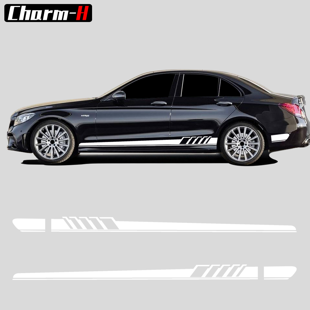 Edición 1 AMG Side Racing Stripe Decal Stickers para Mercedes Benz W205 C200 C180 C63 AMG C Class Amarillo / Silvergrey / Blanco / Negro