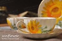 Костяного фарфора Кофе чашка набор Керамика Чай Кружки подсолнечника стране стиль Grace Топ Класс и Блюдце Ложка фарфор на глазированные