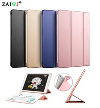 Case for Apple iPad 9.7 inch 2017 2018 release 6th ZAIWJ PU leather cover + TPU soft silicone shell Smart sleep wake up case(China)