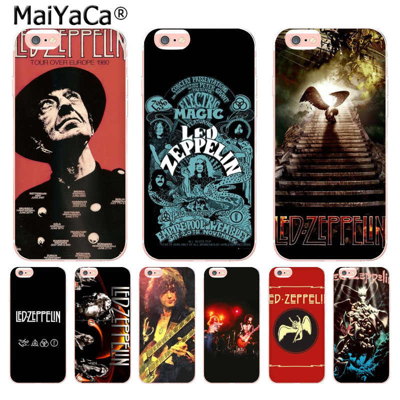 official photos c4f91 6af30 MaiYaCa Led Zeppelin Top Detailed Popular soft Case for iPhone 8 7 6 6S  Plus X 10 5 5S SE 5C 4 4S Coque Shell