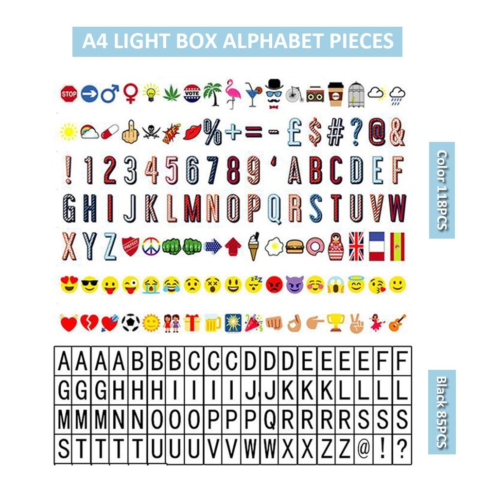 ZINUO Cinema Light Box 3D Letters For The A4 Cinema Light Box Black Colorful Letters & Signs Cards For DIY Bar Letrero Home Deco paradigm cinema trio gloss black