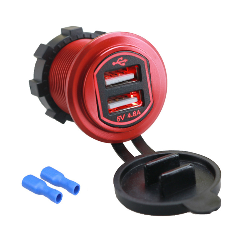 High Quality 12-24V 4.8A Dual USB Port Car Charger Socket Adapter For Mobile Cell Phone Waterproof Dual Universal USB Charger