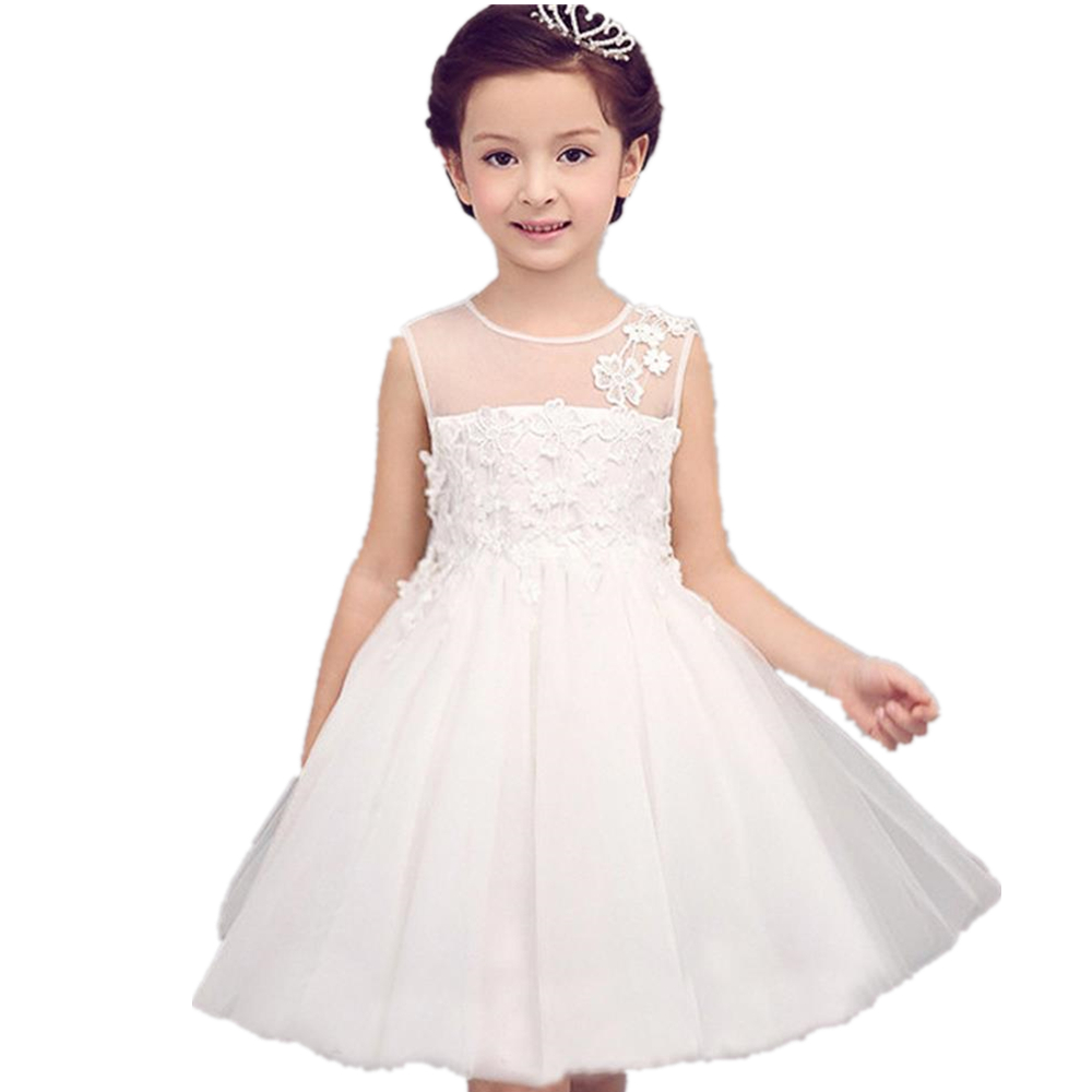 100-140cm Beach Dress Girls Costumes White Girls Dress Baby Party Frocks Toddler Little Girl Clothes Baby Girl Dress 24