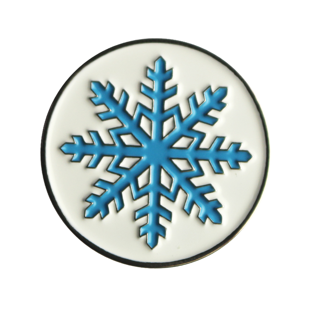 PINMEI Pack Of 5 Snowflake Golf Ball Marks Sets Golf Accessories Markers Sets Soft Enamel Processing Fit Any Magnetic Hat Clips
