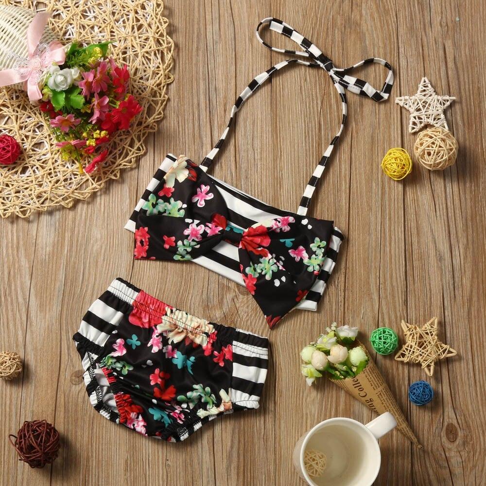 Chamsgend Drop Schiff Kinder Baby Mädchen Striped Floral Badeanzug Bademode Anzug Kleidung April 22