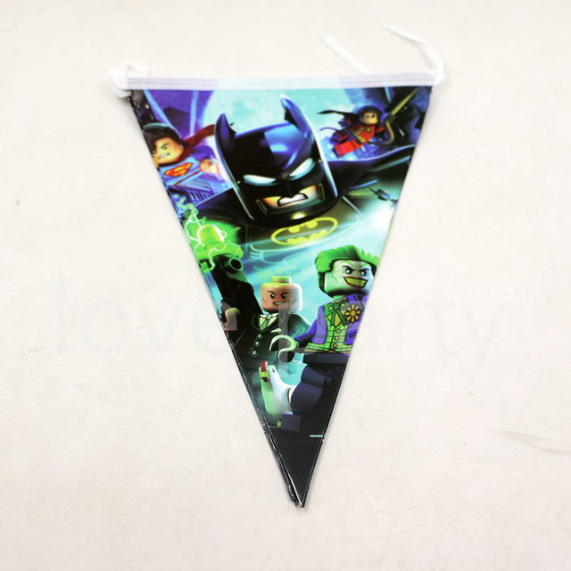 25 M Lego Batman Theme Party Baby Shower Flags Birthday Kids Favor