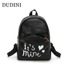 Dudini Лидер продаж модные женские туфли рюкзак высокое качество из искусственной кожи для девочек школьная сумка с буквенным принтом повседневные Стиль рюкзак