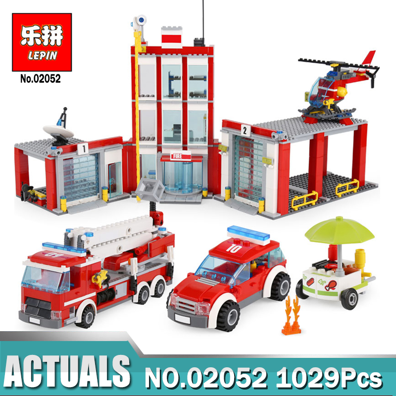 Lepin 02052 1029Pcs The City Fire Station Set  Fireman Building Blocks Bricks Educational DIY Toys Compatible LegoING 60110 12 pcs set diy figures city policeman fireman magician teacher nurse building blocks toys kids educational city set child gift