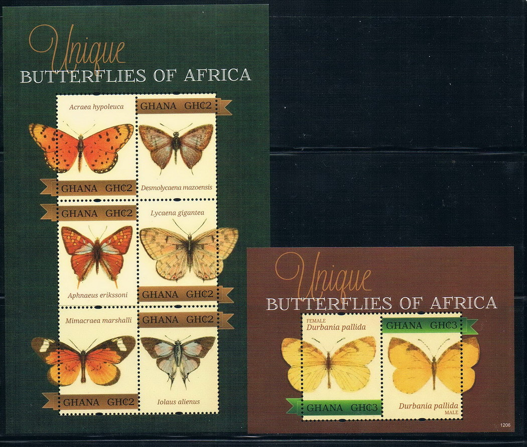 EA1687 Ghana 2012 butterfly stamp 1 + 1 m new 1120 ms ea1475 uganda 1990 blue butterfly stamp 9 new low face value 0712