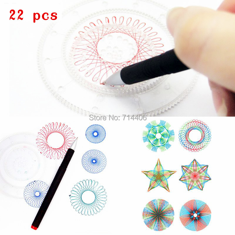 Spirograph-set-22pcs-Accessories-Paint-Coloring-GameDesigns-Interlocking-Gears-Wheelseducational-classic-drawing-toy-for-kid-1