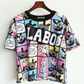Camisetas Camisa corta 2017 Verano Estilo Mujeres Camiseta Único Impreso Tees Harajuku de manga Corta Básica Que Basa Remata El Envío Libre