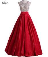 2017 Edaier Satin Beaded Ball Gown Modest Prom Dresses Sleeveless Long Floor Length Backless High School