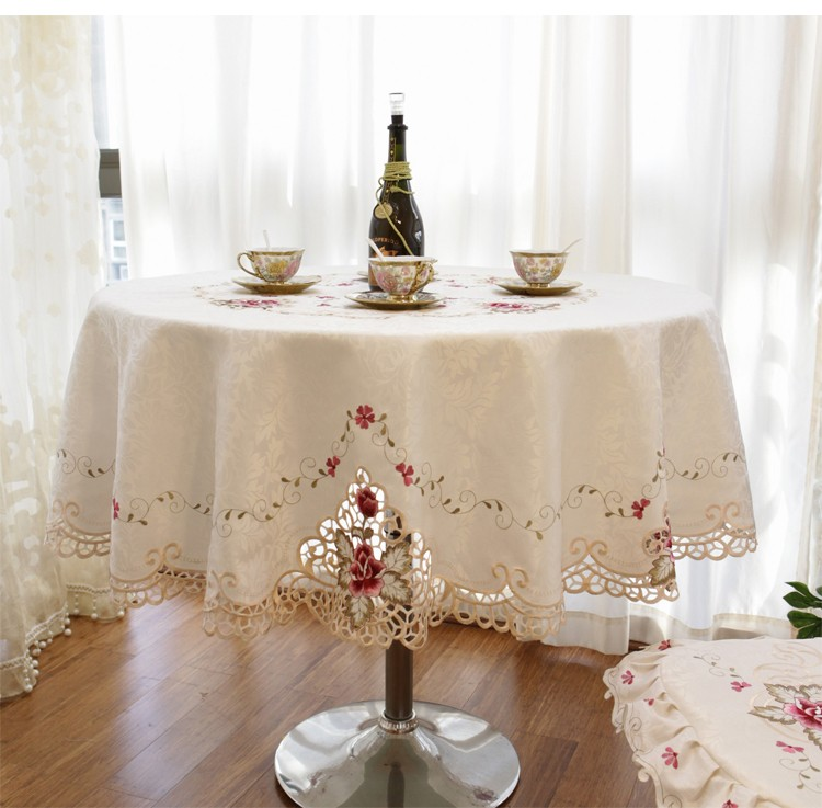 Big Size Round European Style Embroidered Table Cloth Free Shipping Wholesale
