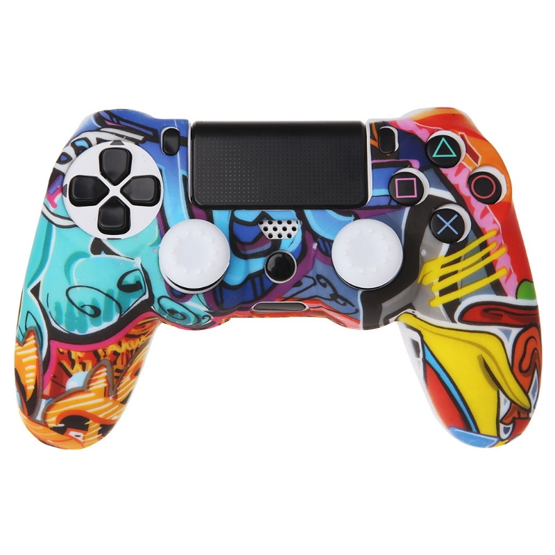 2018 New Multicolor Style Silicone Gamepad Cover <font><b>Case</b></font> + 2 Joystick Cap For <font><b>PS4</b></font> Controller image