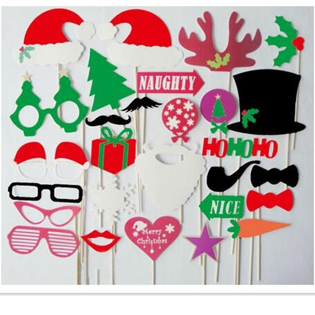 28Pcs Colorful Fun Hats Mustache Creative Photo Booth Props wedding party decoration Birthday Christmas new year event favors