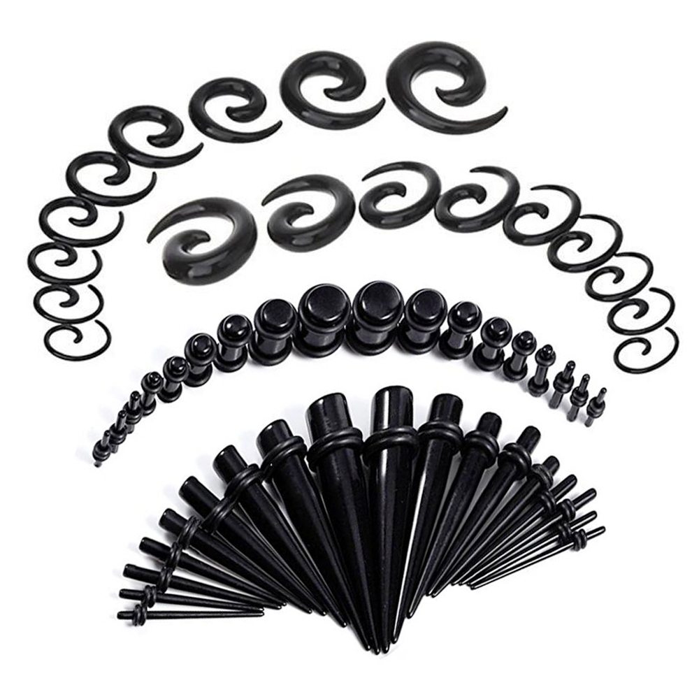 54pcs Gauges Kit Ear Stretching 14G-00G Tunnels Tapers Piercing Set Body Jewelry