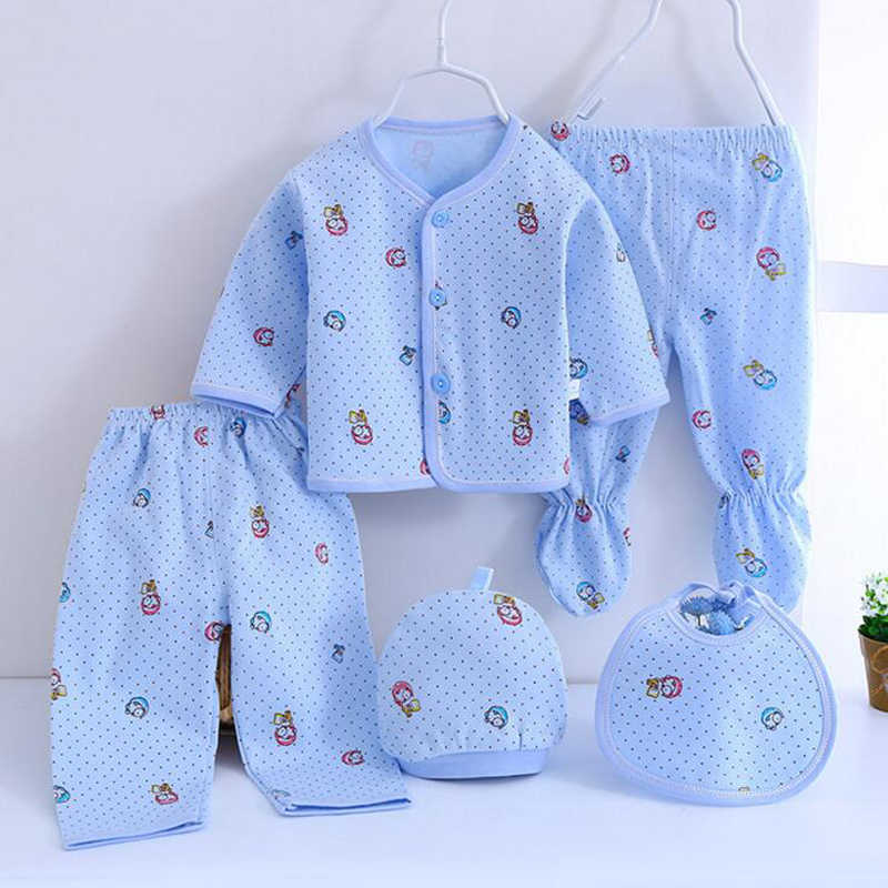 Pasgeboren Set Baby Kleding Katoen Baby Meisjes Jongens Suits Baby Kostuums Broek + Top + Hoed + Bib 5 Stks/set