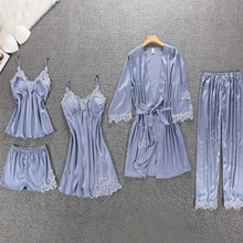 PKSAQ Summer pajamas for women brand 5 piece pajamas sets home sets embroidery sleep