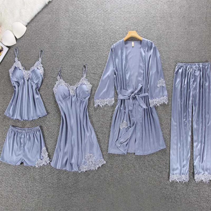 PKSAQ Summer Pajamas For Women Brand 5 Piece Pajamas Sets Home Sets Embroidery Sleep Lounge With Chest Pads Sleepwear Home Suit