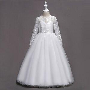 Image 2 - Hàng Mới Về Công Chúa Tay Dài Hồng Đầm Ren Hoa Bé Gái Váy Đầm Bé Gái Cuộc Thi Đầm Rước Lễ Lần Đầu Đầm Dài Dạ Tiệc