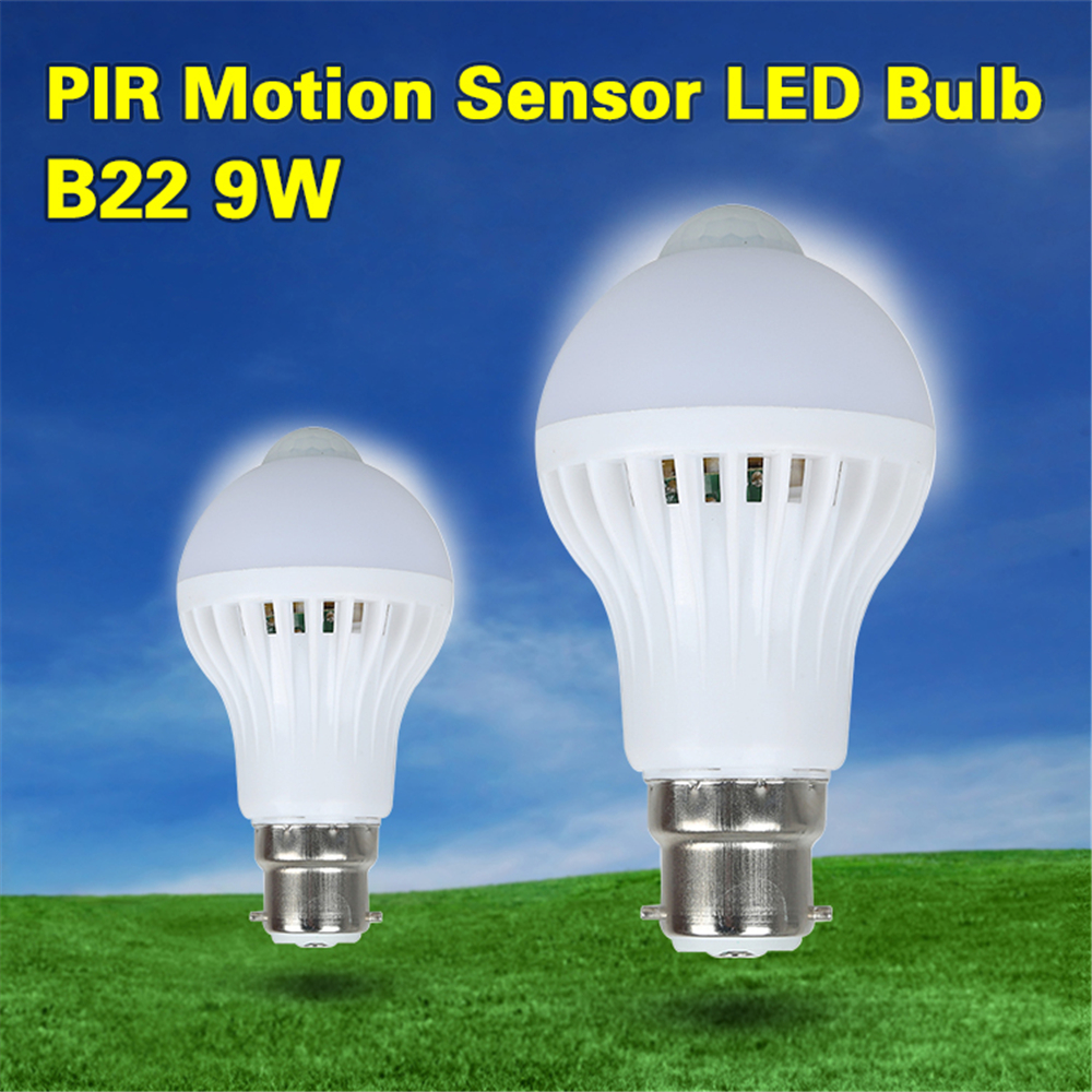 B22 E27 LED PIR Motion Sensor Bulb 9W AC85-265V Induction Bulb White Light Auto Smart LED Lighting Infrared Body Sensor Lamp HOT smuxi motion sensor led light bulb e27 b22 5w 7w 12w smart pir sensor led lamp bulb auto on off night lighting ac85v 265v