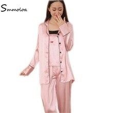 Aliexpress.com   Buy Smmoloa Sexy Spring New Women Silk Stain Pyjama 4  Piece Sets Embroidery Sleepwear Pijamas from Reliable Pajama Sets suppliers  on ... 577bea45d