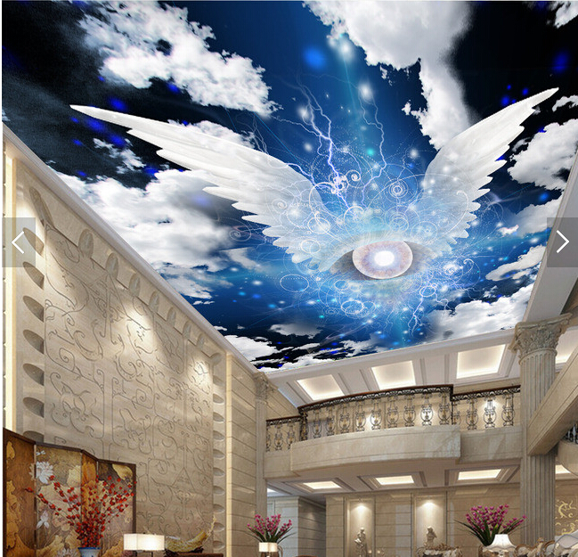 Custom ceiling wallpaper. Angel wings and star murals for the living room bedroom ceiling background wall vinyl papel de parede custom 3d ceiling wallpaper beautiful sky maple murals for the living room bedroom ceiling wall waterproof wallpaper