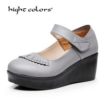 Handmade 2019 Spring Autumn Ethnic Comfortable Women Wedges Genuine Leather Women's Shoes round toe Platform high heels pumps(China)
