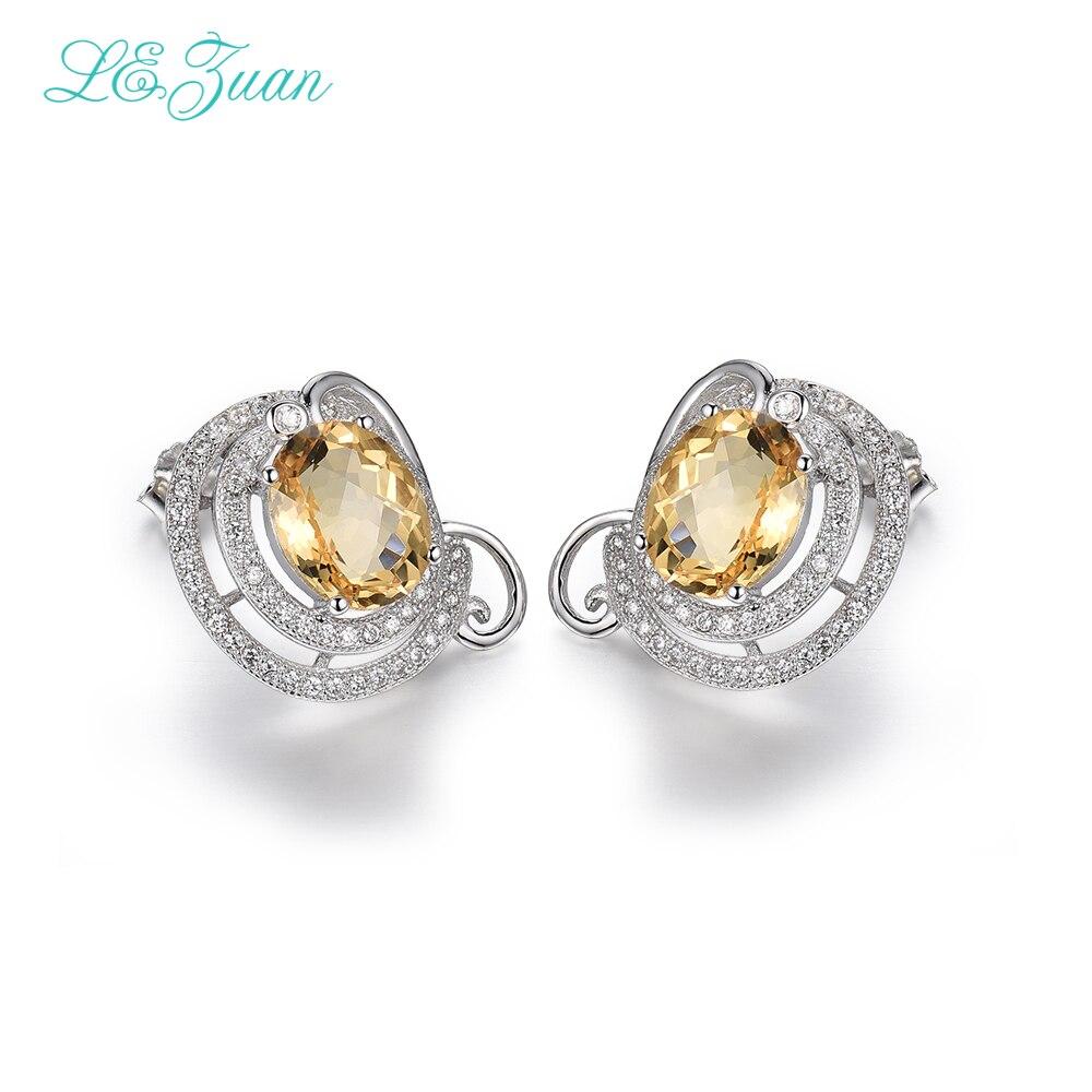 Здесь продается  I&zuan 4.75ct Natural Citrine Drop Earrings 100% Real 925 Sterling Silver Jewelry Cluster Gemstone Earrings For Women  Ювелирные изделия и часы