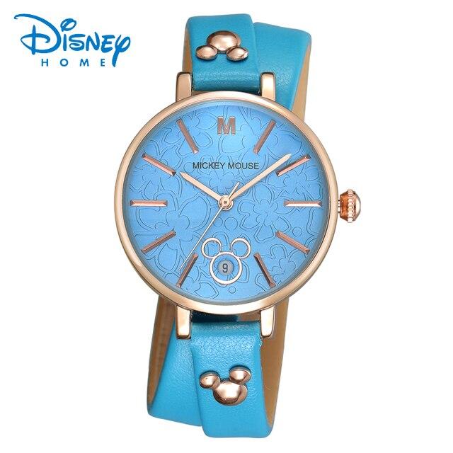 Disney Brand Children Quartz Watch 30m Waterproof Mickey Girl Cartoon Anime Mouse Kids Watches Leather Watches