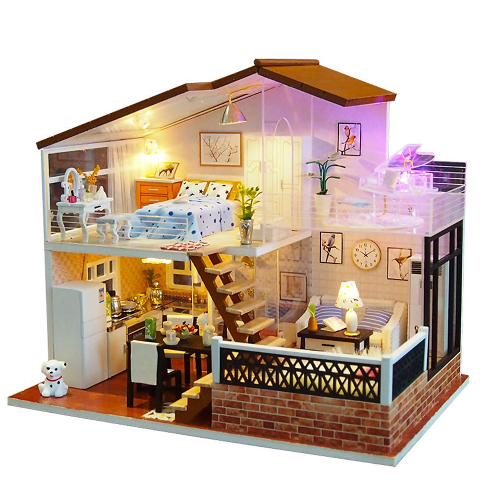 DIY Dollhouse Miniature Doll House DIY Cabin Sunligh with Furniture Children Adult Model Building Kits Dollhouse diy dollhouse