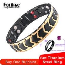 32f442a4f4b3 Hottime joyería de moda Bio curación abeto magnético 316L de acero  inoxidable pulsera para hombres y mujeres de la presión arter.