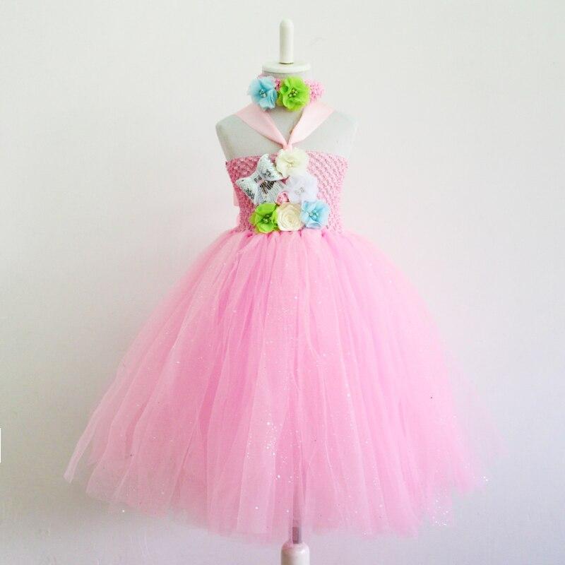 ₪2016 nouvelle Main rose Fleur Fille Robe Filles Parti Tutu Robe ... 5a9b5827088